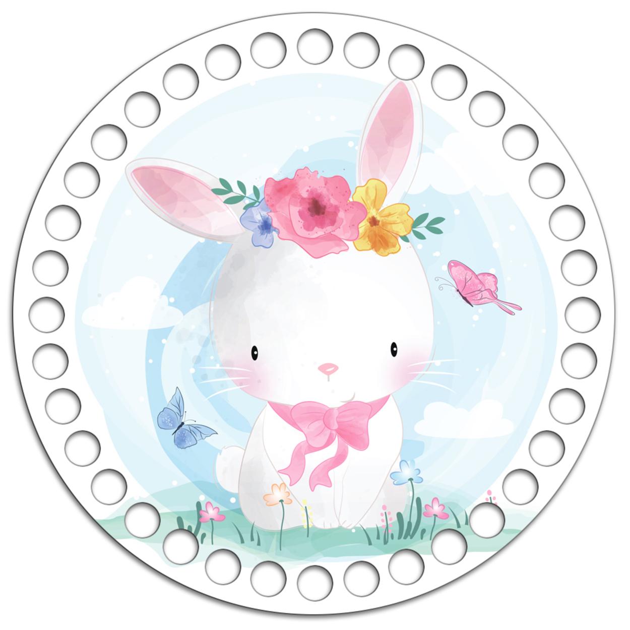 Круг 15 см. Розовый кролик