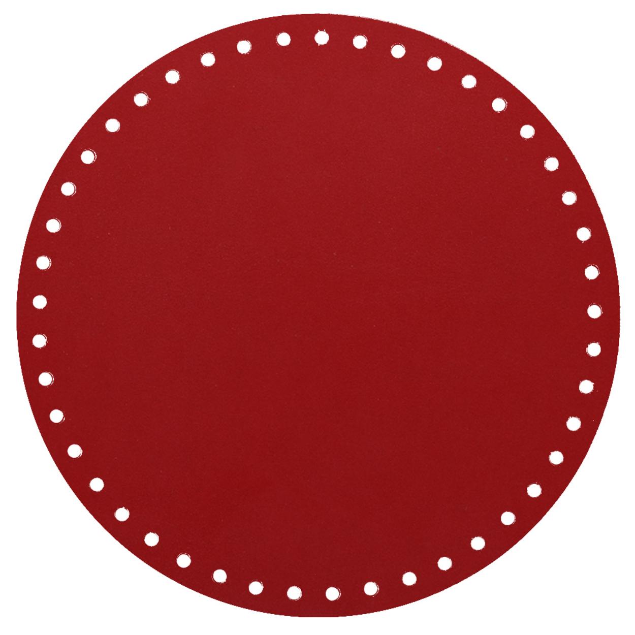 Кожа - Дно для сумки круглое 20 см. Red hot